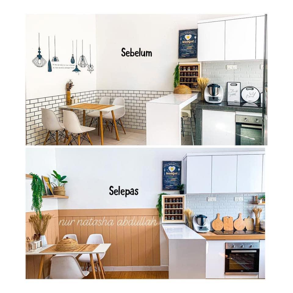 """Kuasa """"Wallpaper"""", Tak Perlu Kerja-Kerja Pecah Jubin Untuk Ubahsuai Dapur 5"""