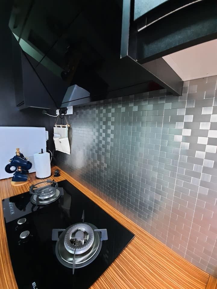 "Buat Sendiri ""Backsplash"" Jenis Aluminium Wall Tile Cantik Mcam Ni, Modal RM 80 Je 7"