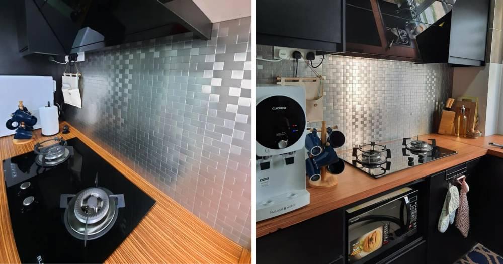 "Buat Sendiri ""Backsplash"" Jenis Aluminium Wall Tile Cantik Mcam Ni, Modal RM 80 Je"