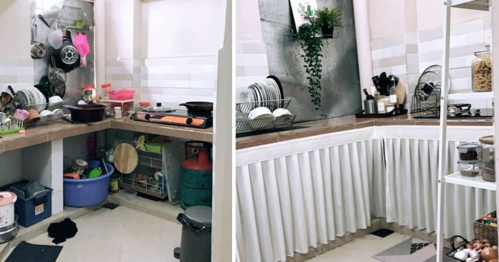 Tambah Langsir Dengan Rak Bajet, Terus Dapur Ni Nampak Cantik Dan Kemas