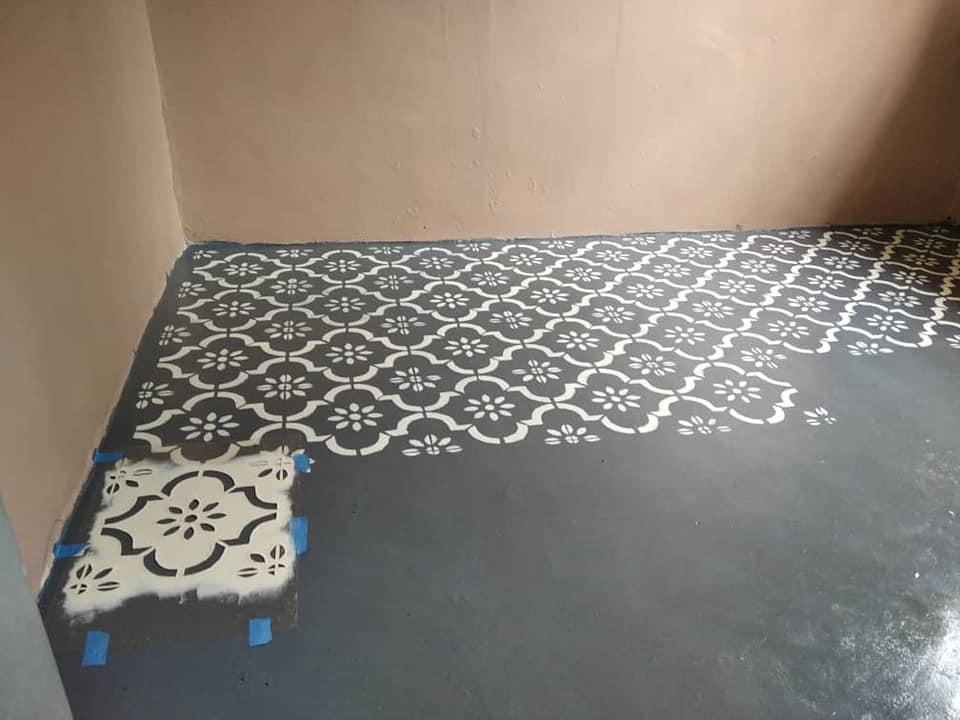 Guna Cat Epoxy Dan Stencil Je Untuk Hasilkan Lantai Kemas Dan Cantik Macam Jubin 8