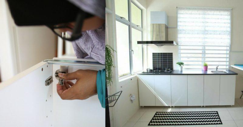 (GAMBAR) Wanita Ini Tunjuk Cara Untuk Bina Kabinet Dapur Dengan Modal Hanya RM 1,358.90