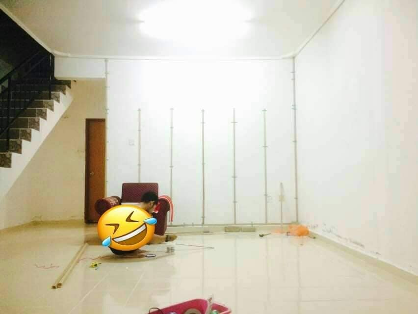 """DIY """"Feature Wall"""" Dari Cermin Kedai Bajet RM 2 2"""