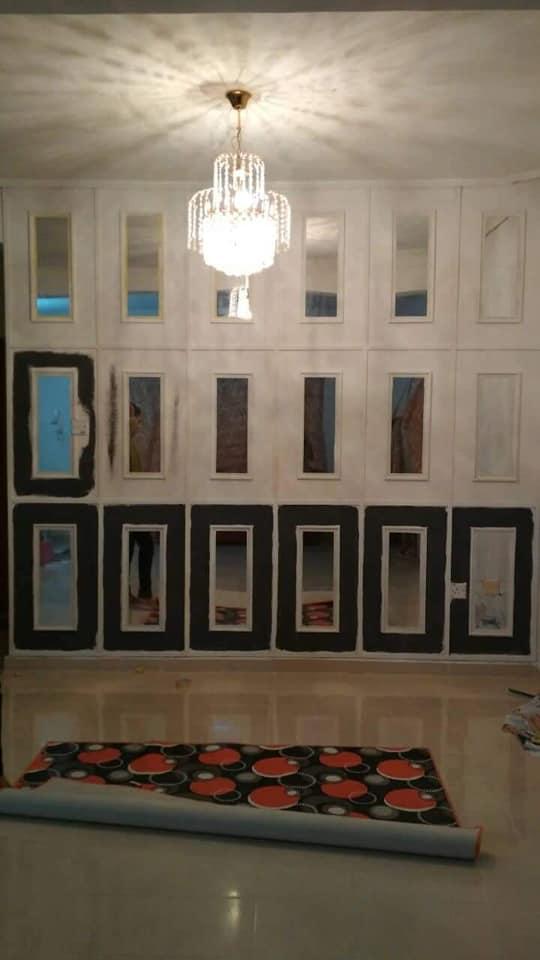 """DIY """"Feature Wall"""" Dari Cermin Kedai Bajet RM 2 6"""
