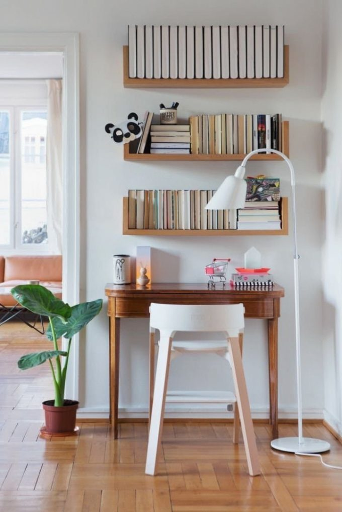 shelves above desk shelves ideas with regard to fabulous desk with wall shelves your house inspiration 680x1018 18 52 572080 10 26 646423 - Kekalkan Produktiviti Dengan Ruang Kerja Menarik Dan Praktikal Di Kediaman