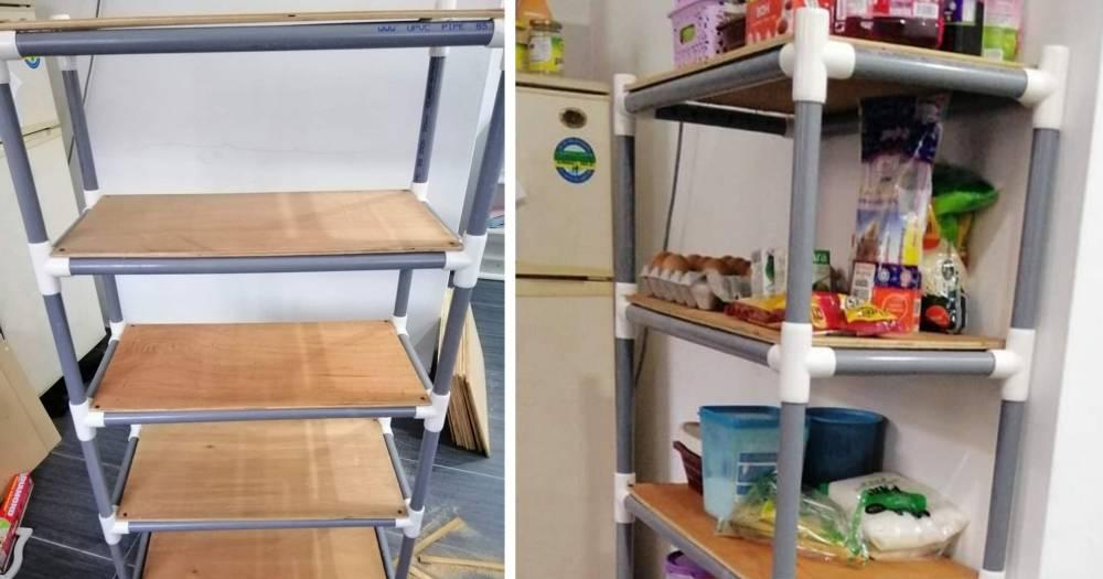Rak Untuk Barang Dapur Dari Paip Pvc Dan Papan Terpakai Impiana