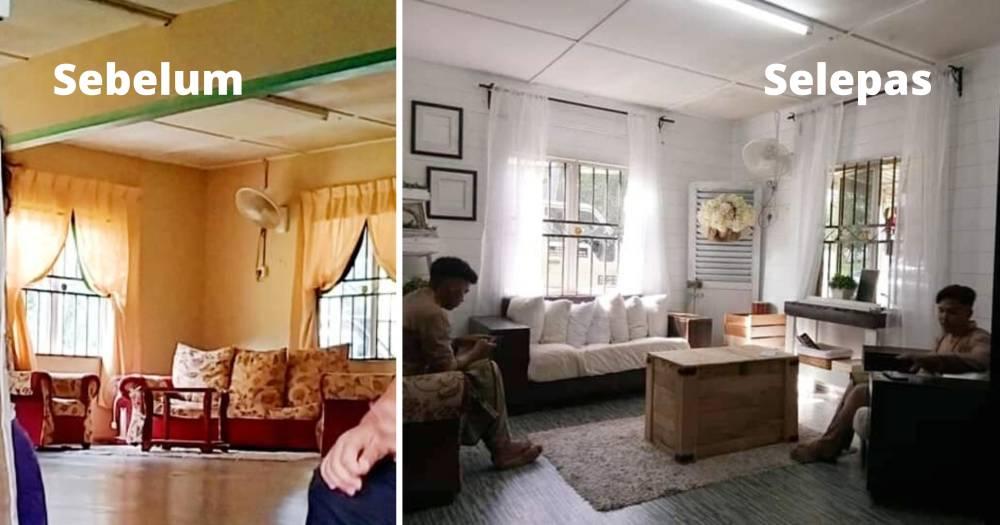 Makeover Ruang Tamu Konsep Farmhouse Guna Barang DIY, Shiplap Wall Pakai Marker Pen Je 3