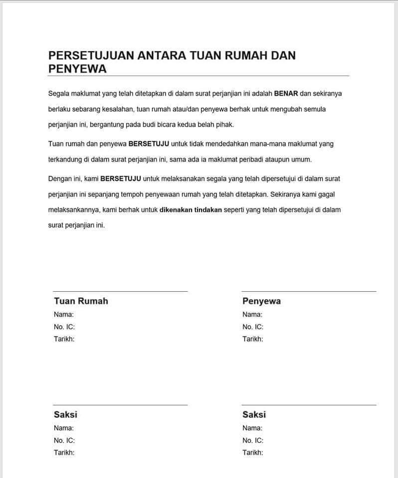 Contoh Surat Perjanjian Sewa Rumah Simple Pdf Bagikan Contoh